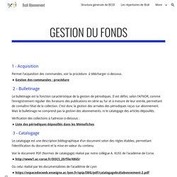 Gestion du fonds - Bcdi Abonnement
