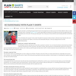 Be Fashionable with Plain T-shirts