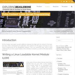 Exploring BeagleBone – Extra Content: Linux Kernel Programming