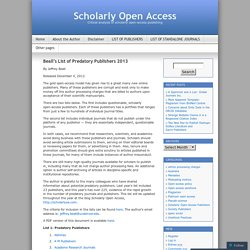 Beall's List of Predatory Publishers 2013