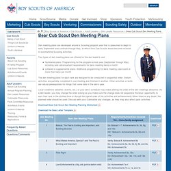 Bear Cub Scout Den Meeting Plans