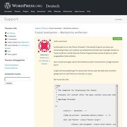 Thema: Footer bearbeiten – Werbelinks entfernen « Deutsch Support Forums — WordPress