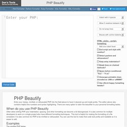 PHP Beautifier (Make it look Pretty) - Dan's Tools