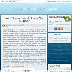 Beautiful Funeral Quotes to Describe Your Loved Ones! - Funeral Program Template - Edavio