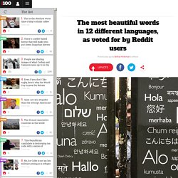The most beautiful words in 12 different languages, as voted for by Reddit users