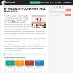 40+ Free Beautiful CSS CSS3 Table Templates