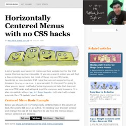 Beautiful Horizontally Centered Menus/Tabs/List. No CSS hacks. Full cross-browser.