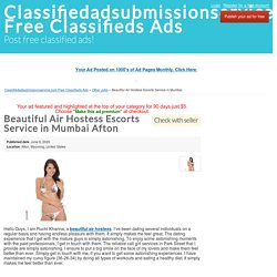 Beautiful Air Hostess Escorts Service in Mumbai Afton - Classifiedadsubmissionservice.com Free Classifieds Ads