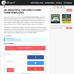 50+ Beautiful CSS HTML5 Login Form Templates