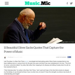 11 Beautiful Oliver Sacks Quotes That Capture the Power of Music