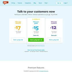 Beautiful live chat software pricing for sales and support