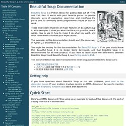 Beautiful Soup Documentation — Beautiful Soup 4.2.0 documentation