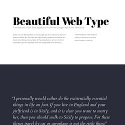 Beautiful web type — the best typefaces from the Google web fonts directory