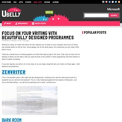 Underbelly Focus on your writing with beautifully designed programmes » Underbelly