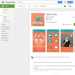 Bébé Signe – Applications sur GooglePlay