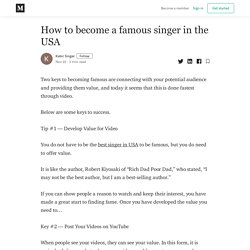 How to become a famous singer in theUSA