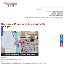Become a Pharmacy Assistant with CCBST