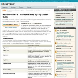 How to Become a TV Reporter: Step-by-Step Career Guide