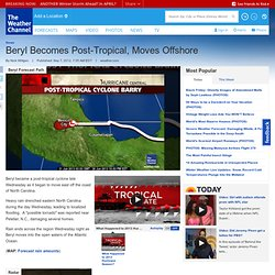 Tropical Depression Beryl Spins Inland