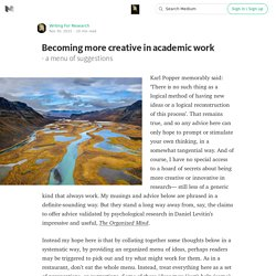 Becoming more creative in academic work — Advice for authoring a PhD or academic book