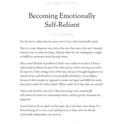 Becoming Emotionally Self-Reliant