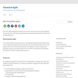 Becoming More Agile