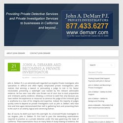 John A. DeMarr and Becoming A Private Investigator
