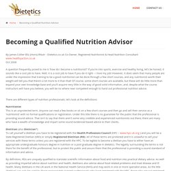 Becoming a Qualified Nutrition Advisor
