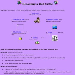 Becoming a Web Critic - Home Page
