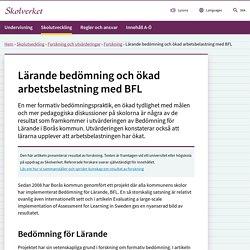 Lärande bedömning och ökad arbetsbelastning med BFL