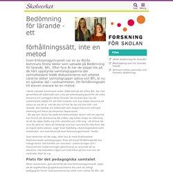 Bedömning för lärande - ett förhållningssätt, inte en metod