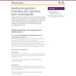 Bedömningsstöd i svenska och svenska som andraspråk i grundskolan