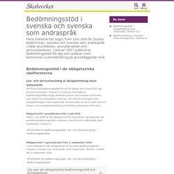 Bedömningsstöd i svenska och svenska som andraspråk