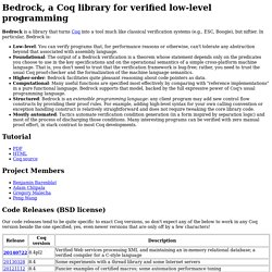 Bedrock, a Coq library for verified low-level programming