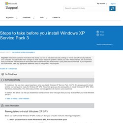 Steps to take before you install Windows XP Service Pack 3