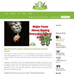 Learn About These Facts Before Vaping Cannabis