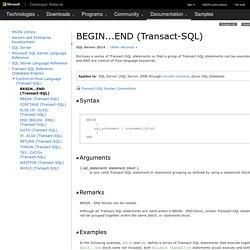 BEGIN...END (Transact-SQL)
