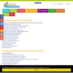 ESL Beginner and Elementary Online Games and Activities