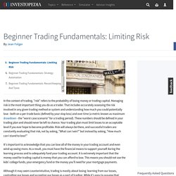 Beginner Trading Fundamentals: Limiting Risk