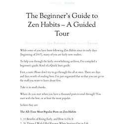 The Beginner's Guide to Zen Habits - A Guided Tour