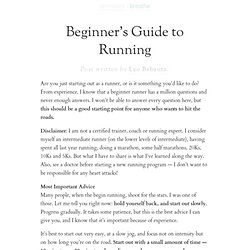 Beginner's Guide to Running | Zen Habits