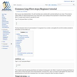 Common Lisp/First steps/Beginner tutorial