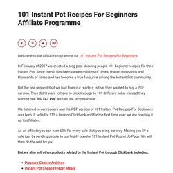 101 Instant Pot Recipes For Beginners Affiliate Programme