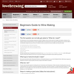 Beginners Guide to Wine Making - Love Brewing