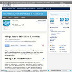 Writing a research article: advice to beginners