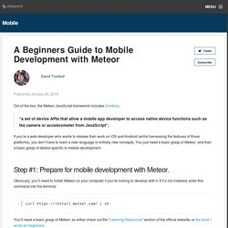 A Beginners Guide to Mobile Development with Meteor