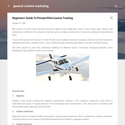Beginners' Guide To Private Pilot License Training