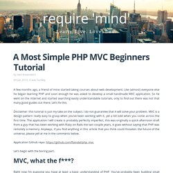 A Most Simple PHP MVC Beginners Tutorial