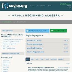 MA001: Beginning Algebra