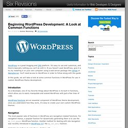 Beginning WordPress Development: A Look at Common Functions